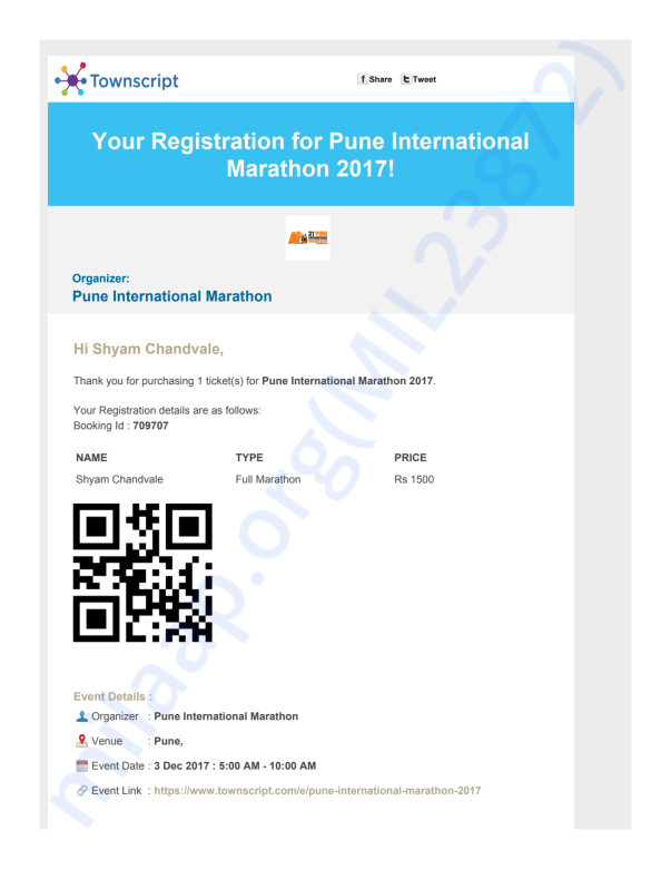Registration/Payment Confirmation for the Pune International Marathon