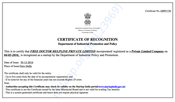 StartUp India certification for innovative social health initiative
