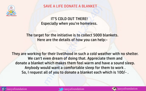 """A blanket provides warmth so does the joy of good deed"""