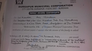 Family income certificate by local authority.