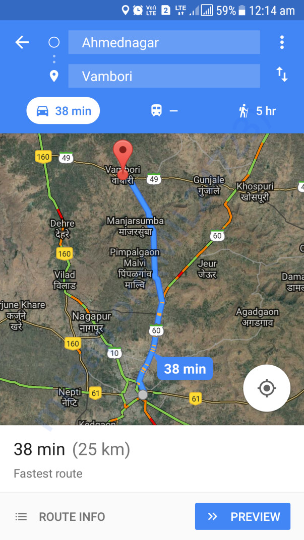 Distance in kilometre from Ahmednagar to Vambori village.