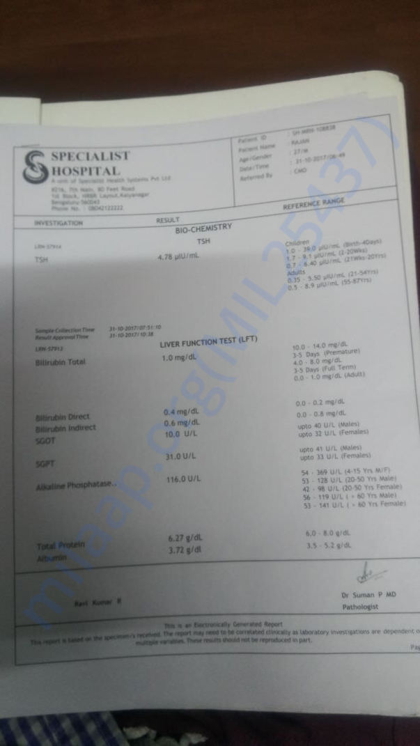 Medical report of Rajan