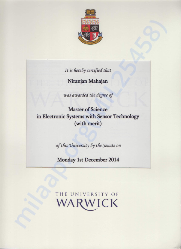 Masters degree from Warwick