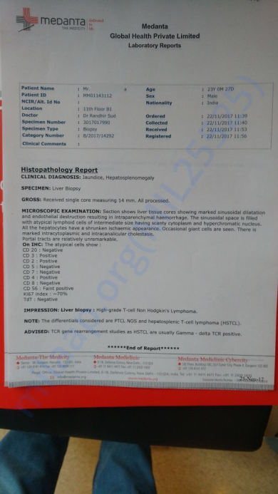 LIVER BIOPSY Report of patient