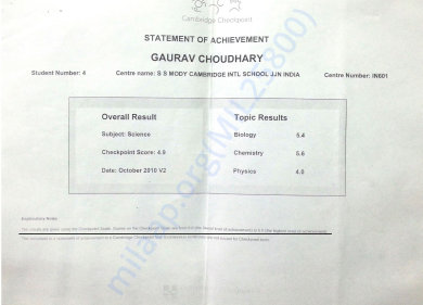 Cambridge Checkpoint Year Science Result
