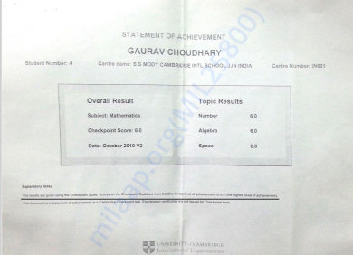 Cambridge Checkpoint Year Maths Result