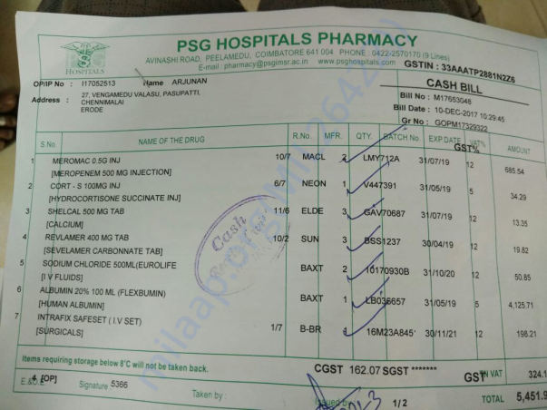 Pharmacy bill dated 10th December