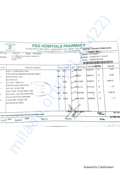 Pharmacy bills dated 23 to 31 december