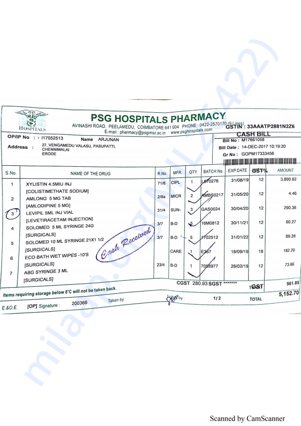 Pharmacy bills 1 14-12