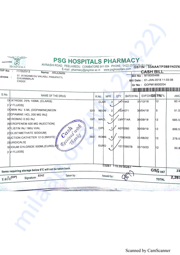 Pharmacy bills Jan part 1