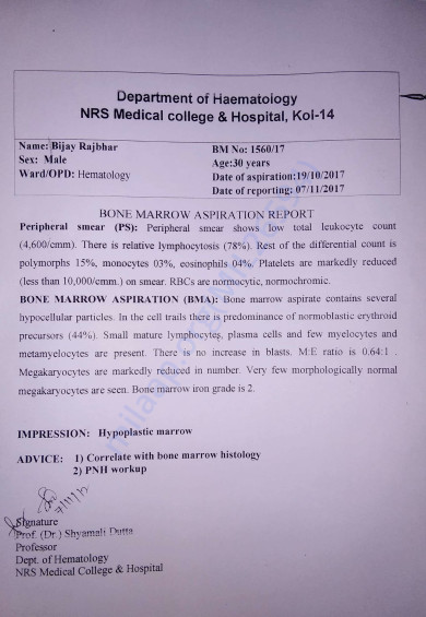 Confirmation Of Aplastic Anemia By NRS Medical College & Hospital