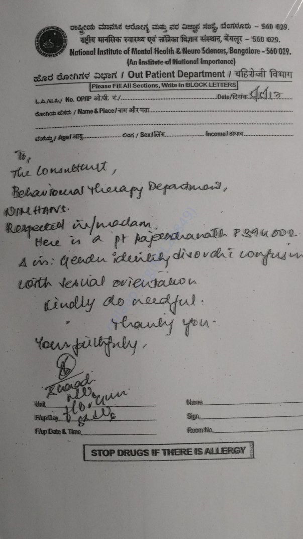 Doctor's letter form banglore NIMHANS