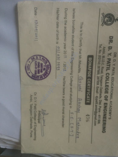 This is my last college bonafide certificate which I was left