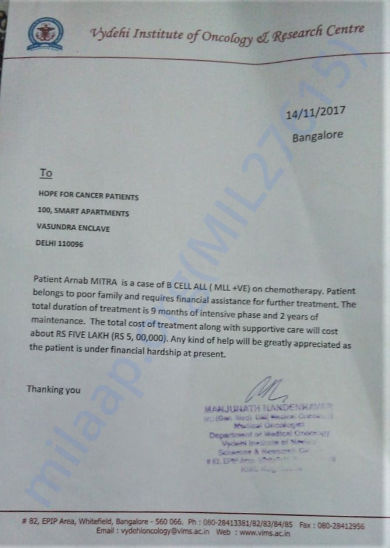 Appeal letter by Doctor of Vydehi Institute