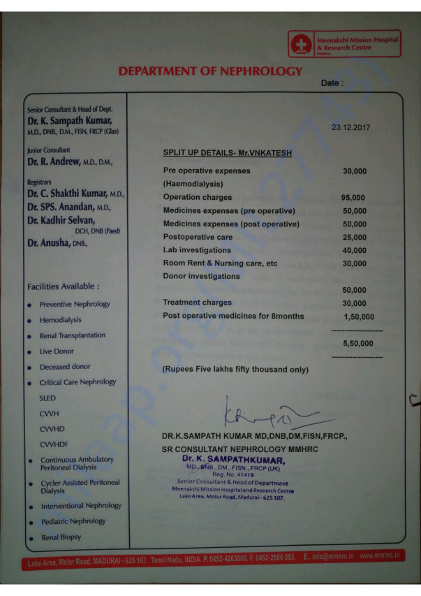 Letter from Chief Nephrologist and Cost Statement for Transplantation