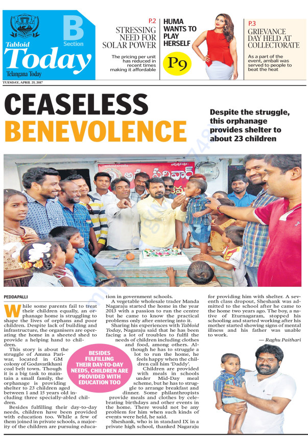 AN ARTICLE IN TELANGANA TODAY PAPER