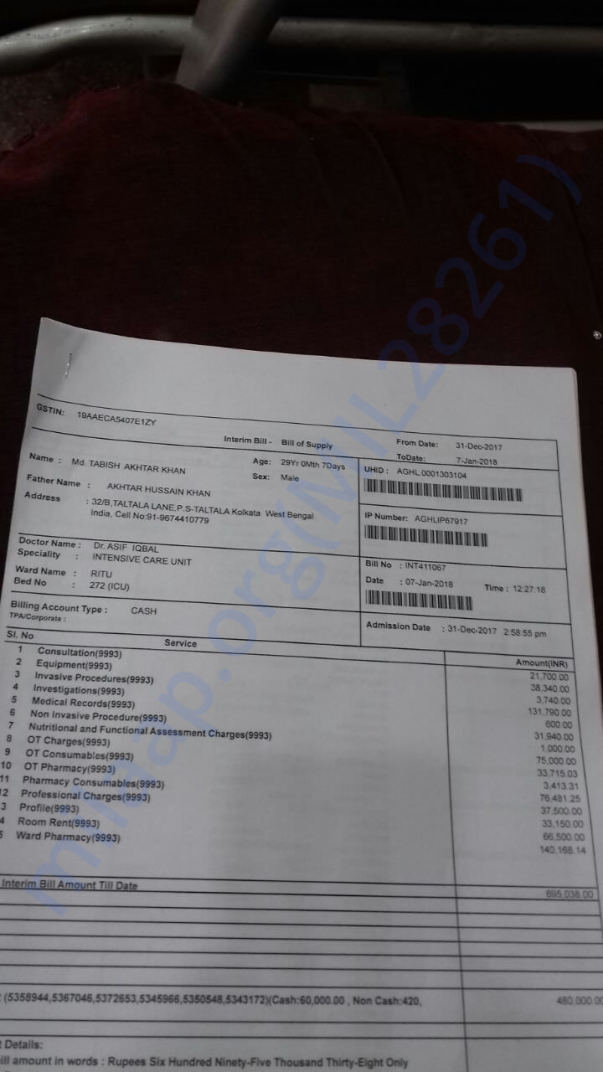 Apollo Hospital Invoice Until 7th January