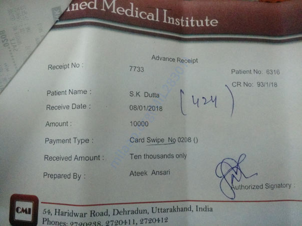 Paid advance 10k today. Don't know how much will be at discharge