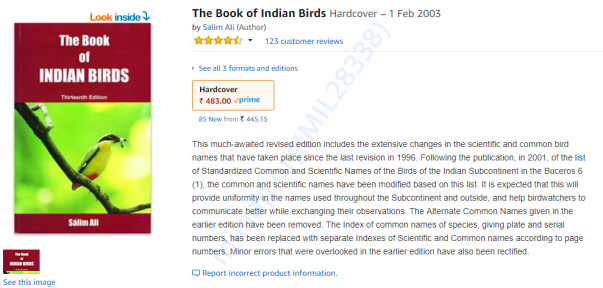 Salim Ali's Book on Indian birds
