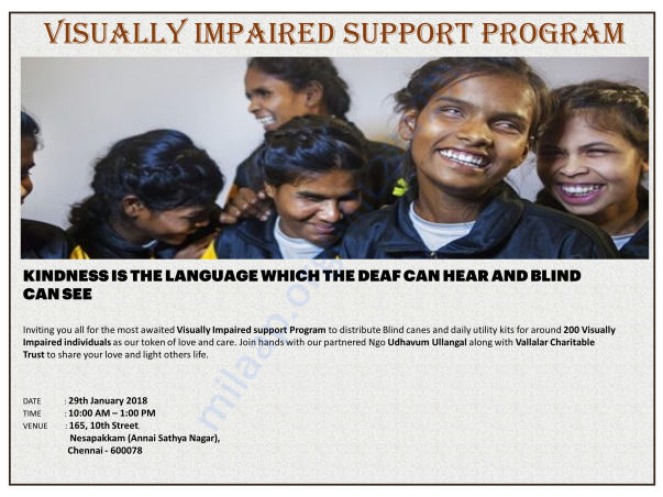 INVITATION FOR VISUALLY CHALLENGED SUPPORT PROGRAM