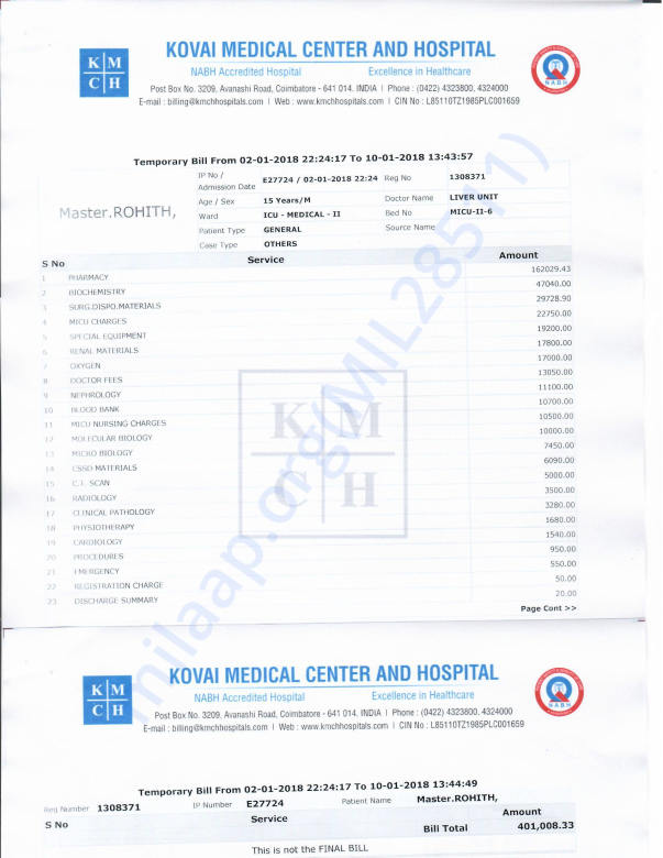 Only 9 days medical bill is around 4,00,000 rupees