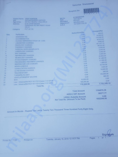 Hospital Bill Till 16th Jan 2018