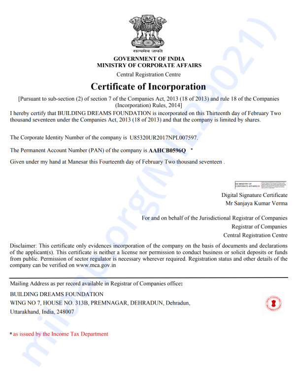 LETTER OF INCORPORATION