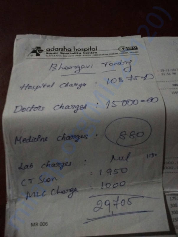 Hospital Bill of Bhargavi Tantry