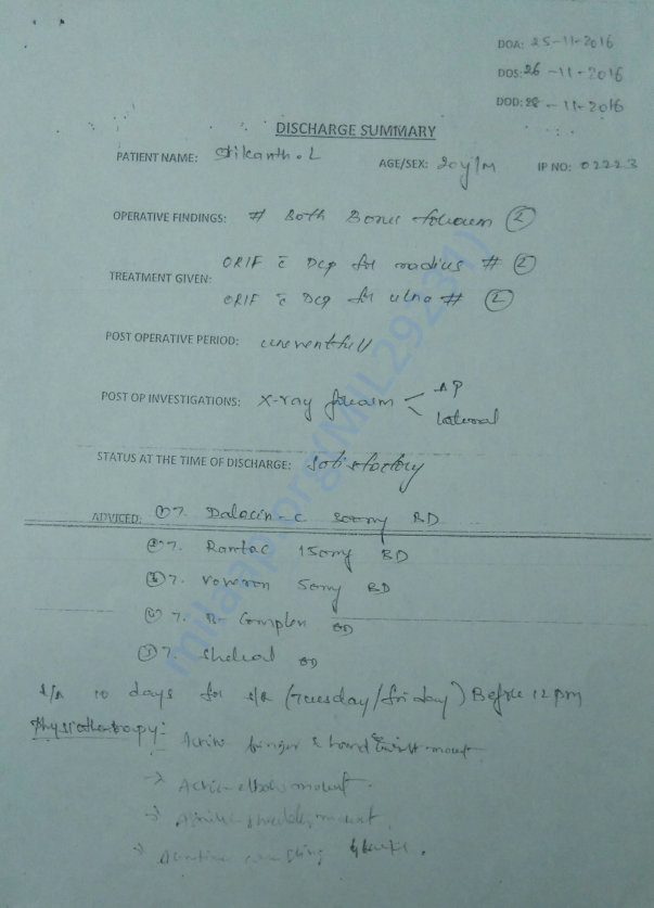 Discharge Summary from Orange Hospital, L.B Nagar, HYD