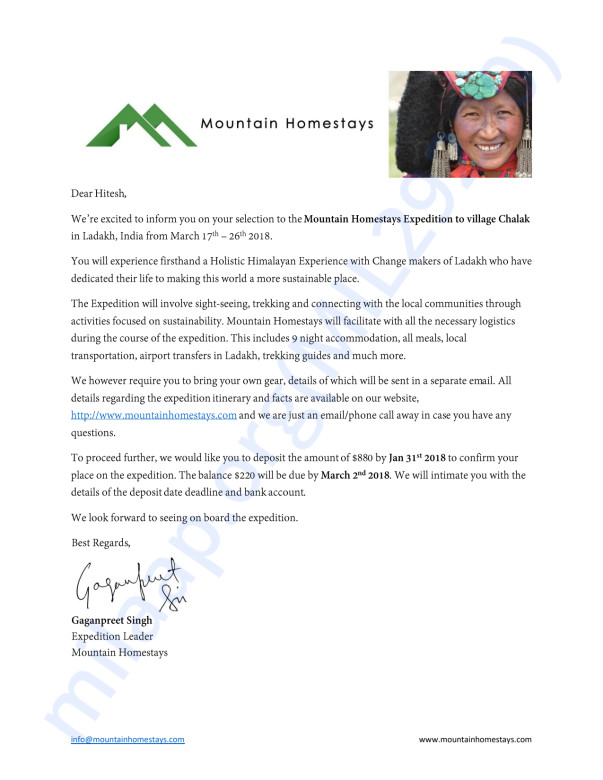 Acceptance Letter for the Expedition