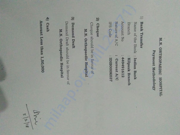 Account detail of MN orthopaedic hospital