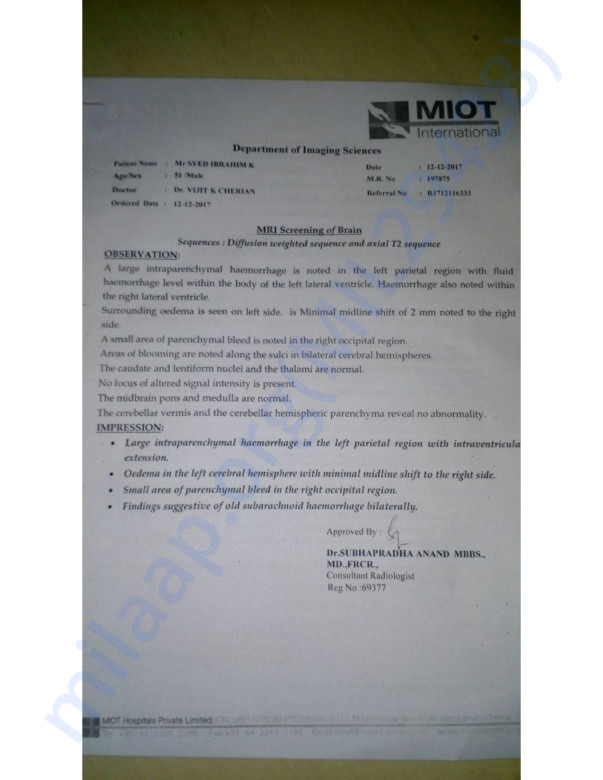 Mr Syed Iburahim Medical Reports, Invoices, Photo & Esimation letter
