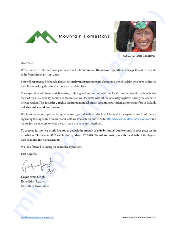 This is my acceptance letter from Global Himalayan Expedition.