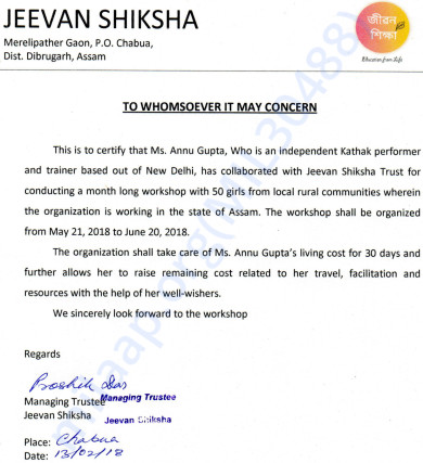 Official letter of collaboration with Jeevan Shiksha, Assam