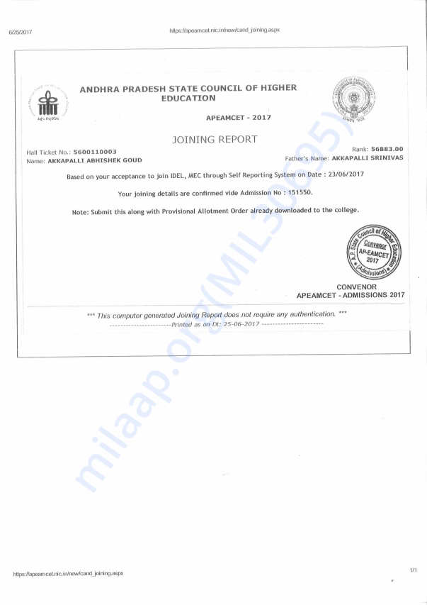 Engineering College Admission Letter