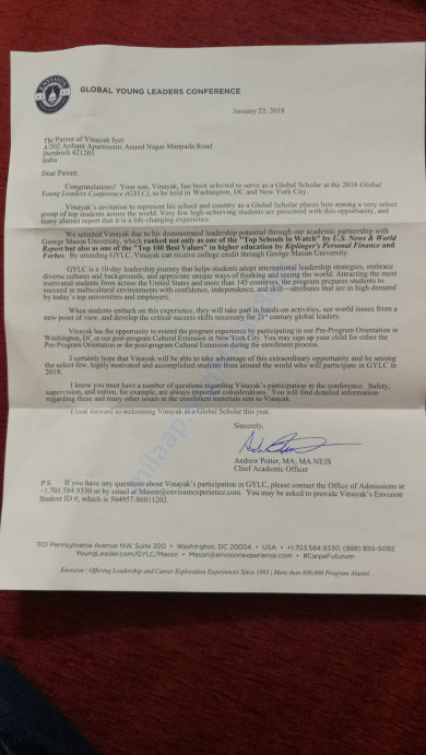 Letter of acceptance from GYLC