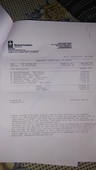 Page 2 of Medical Bill as of Feb 14 evening