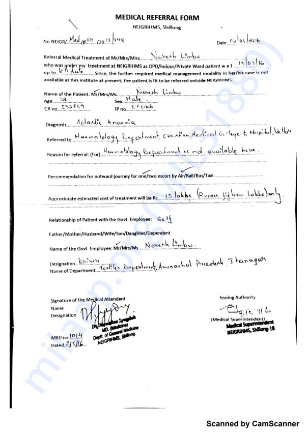 Medical referral Form issued by NEIGRIHMS, Shillong