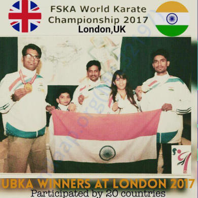 ME and my Sensai Santosh Chavan and Karate Team in LONDON Tournament.