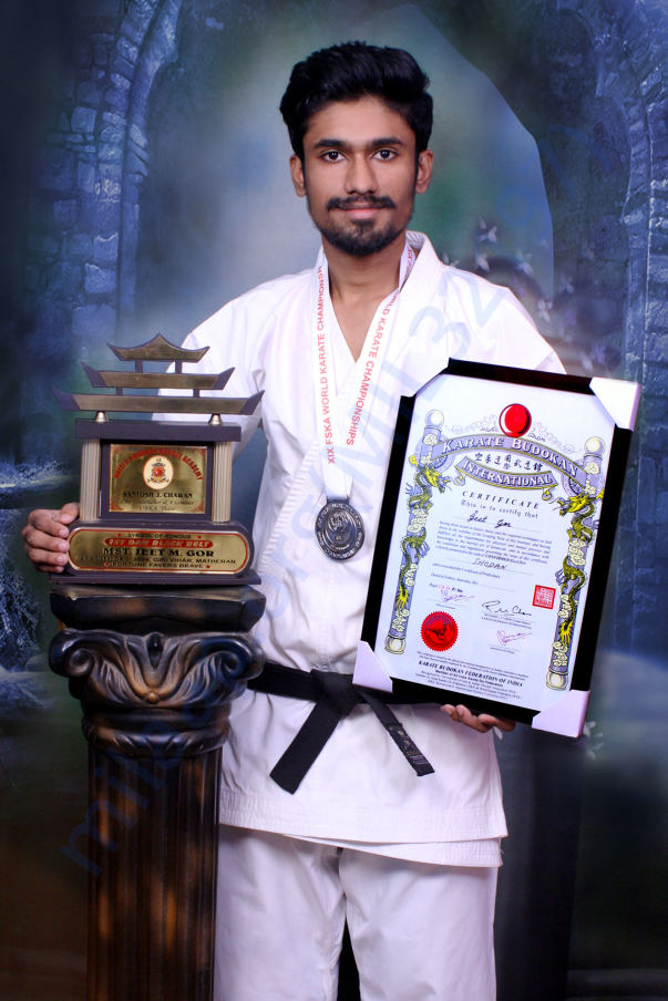 ME with my London medal and 1st Dan Black Belt Certificate and Trophy.