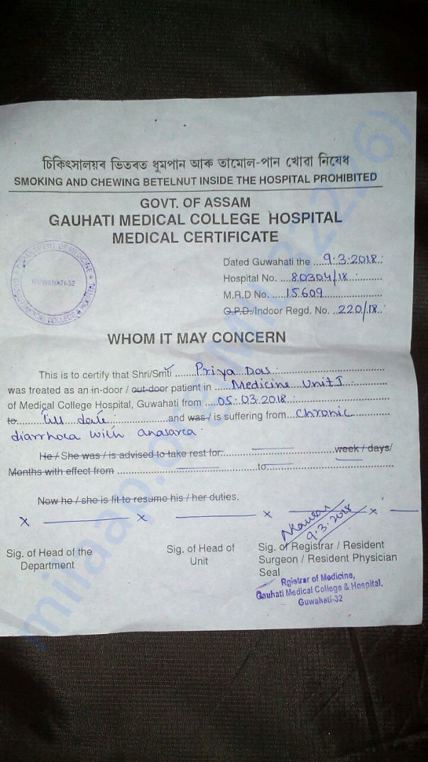 Doctor medical report