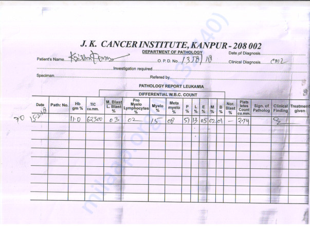 W.B.C.COUNT REPORT JK CANCER HOSPITAL KANPUR