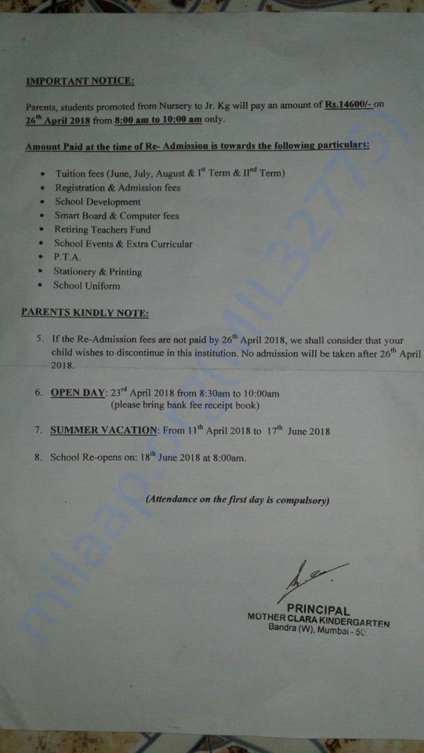 Admission Fee letter