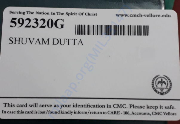 Identity card for patient admitted in CMC, Vellore