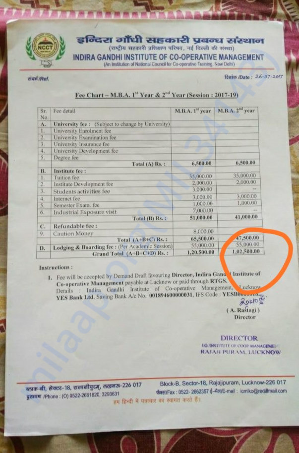 Fee structure of MBA !st