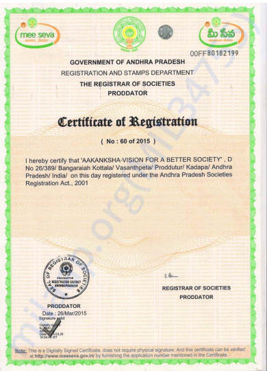 Aakanksha VFABS registration document