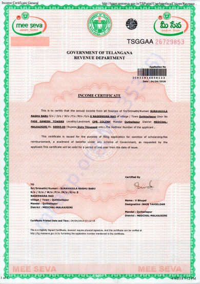 Father Income Certificate