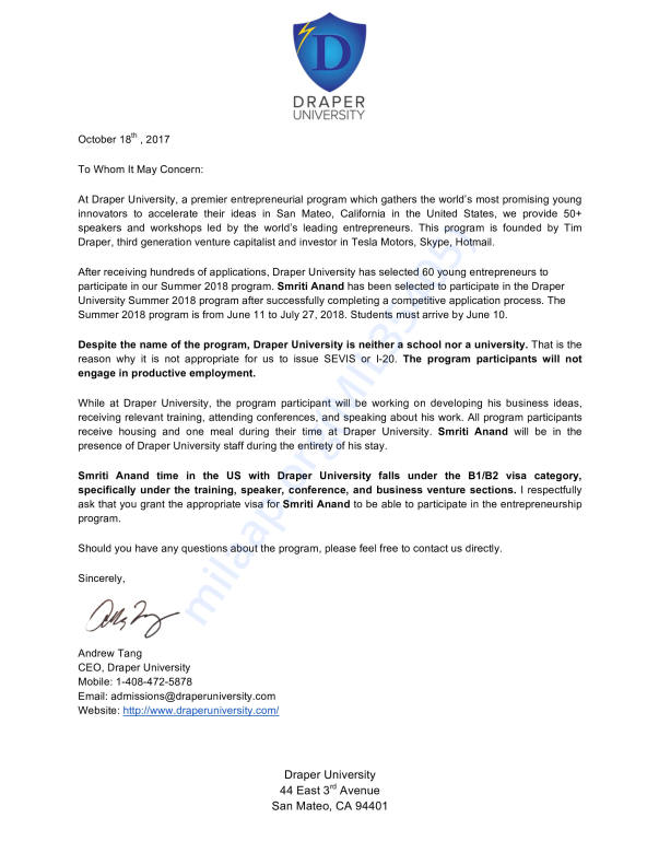 Confirmation letter from Draper University