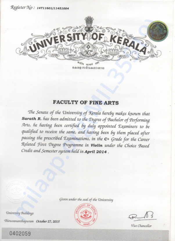 My degree certificate