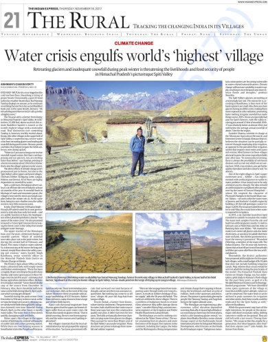 My story in Indian Express on climate change